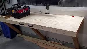 garage storage folding workbench update youtube garage storage folding workbench update