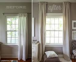 Hanging Curtains High And Wide Designs Great Idea For A Basement With Lower Ceilings Hang Curtains Up To