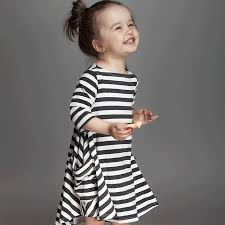 2018 ins dresses for baby 2017 fall black white