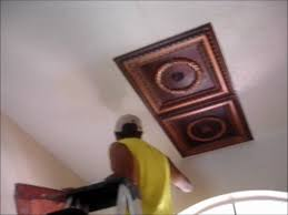 Installing Ceiling Tiles by Faux Tin Ceiling Tiles Installation Video Youtube