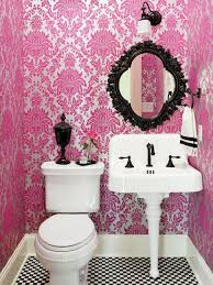 Wallpaper Bathroom Ideas Bathroom Small Bathroom Ideas With Graphic Pink Wallpaper And
