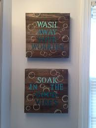 wall decor blue diy bathroom wall decor 10 wood canvas from walmart