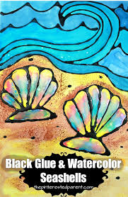 printable black glue and watercolor seashells black glue is a