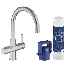 shop grohe grohe blue super steel 1 handle deck mount high arc