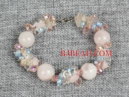 rose quartz bead bracelet images Hot sale gorgeous round rose quartz beads cluster blue pearl pink jpg