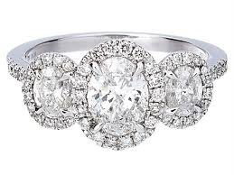 three stone engagement rings certified three stone oval diamond halo engagement ring in 14k