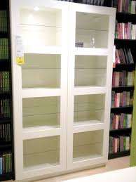 White Bookcase With Doors Ikea Hemnes Glass Door Cabinet White Stain Ikea With Bookcase With