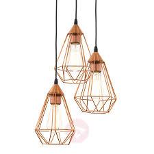 Copper Pendant Light Uk with Glossy Copper Hanging Light Tarbes 3 Bulb Lights Co Uk