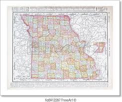 map of missouri free print of antique color map missouri mo united states