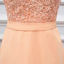 free shipping high quality back chiffon lace long peach color