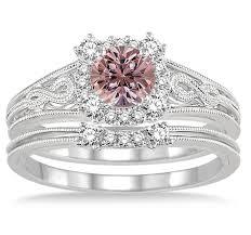 morganite bridal set 1 25 carat morganite diamond vintage halo floral bridal set
