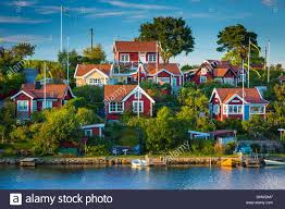 Small Cottages by Typical Swedish Small Cottages In Karlskona Sweden Stock Photo