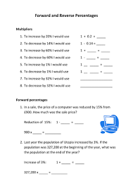 forward and reverse percentages worksheet by awilki9 teaching
