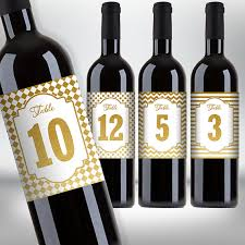 gold wine bottle table numbers gold wine bottle labels table numbers birthday wedding