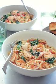shrimp pasta with tomatoes lemon and spinach bev cooks