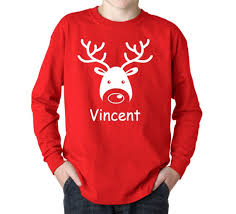 personalized christmas for kids personalized christmas shirt kids reindeer sleeve t with