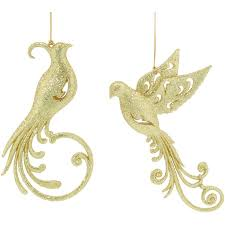 of two gold coloured glitter birds christmas tree hanging