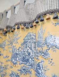 blue and yellow toile curtains home decoration ideas