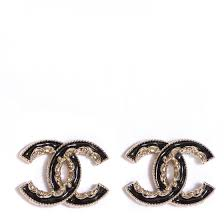 cc earrings chanel enamel cc earrings black gold 99430