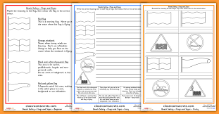 beach safety worksheets flags and signs classroom secrets