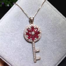 gem key necklace images Natural red ruby gem pendant s925 silver natural gemstone trendy jpg