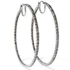 ramona singer earrings ramona singer 1ct diamond sterling silver hoop earrings at hsn