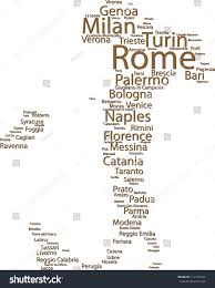 Italy Map Cities by Tag Cloud 100 Italys Largest Cities Stock Vector 111379184