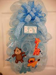 Welcome Home Baby Party Decorations by Baby Boy Animals Deco Mesh Wreaths It U0027s A Boy Welcome Home Swag