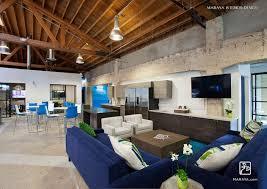 Modern Living Room Millbrae Interior Design by The Trade Desk Modern Open Office Lounge And Break Area Blue