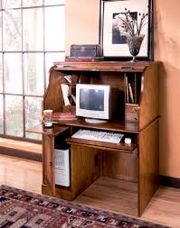 Computer Desk Oak Small Roll Top Desk Oak Decorative Desk Decoration Inside Small
