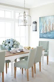 Light Blue Dining Room Pale Blue Linen Dining Chairs With Farmhouse Table Cottage
