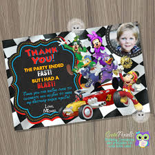 Mickey Mouse Birthday Invitation Card Mickey Mouse Roadster Racers Invitation Mickey And The
