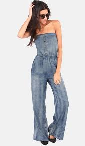 strapless denim jumpsuit 9 comfortable strapless jumpsuits for womens in trend