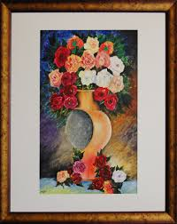 roses 28 x 33 fl vertical acrylic painting on canvas board framed