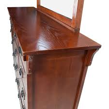 69 off cherry stained solid wood bedroom dresser with mirror