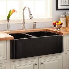 Polished Granite  Offset DoubleBowl Farmhouse Sink - Farmhouse double bowl kitchen sink
