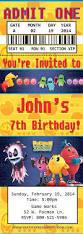 caillou birthday invitations 26 best david u0027s 5th birthday pac man theme images on pinterest