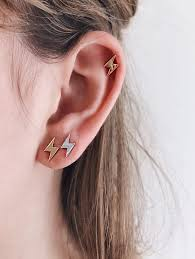 sterling silver earrings sensitive ears lumiere ear studs sensitive ears ear piercings and lightning bolt