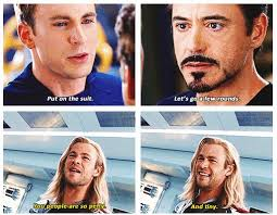 thor is having fun watching captain america iron man fight in