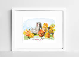 tech wall art virginia tech hokies watercolor print vt college campus wall