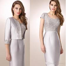 lace dresses silver of lace dresses 2016 with jacket knee length