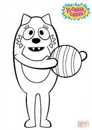 Images Of Yo Gabba Gabba by Toodee With Ball Coloring Page Free Printable Coloring Pages