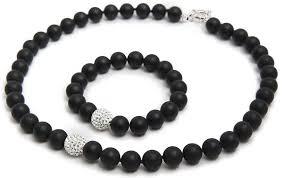 onyx bracelet images Black onyx bracelet plus necklace with sparkling crystal bead jpg