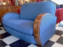 Living Room Design Art Deco Prolific Blue Fabric Seat With Wooden Arms On Chess Floors Pattern