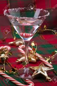 closeup of glass of martini and ornaments