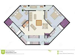 Floor Plans With Furniture Floor Plan Of Three Bedroom Condo With Furniture Royalty Free