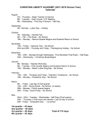 2017 2018 academic calendar christian liberty academy
