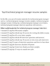 It Program Manager Resume Sample Top8technicalprogrammanagerresumesamples 150521071127 Lva1 App6892 Thumbnail 4 Jpg Cb U003d1432192333