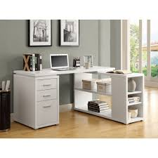 L Shaped Student Desk L Shaped White Wooden Office Desk With Three Drawers And Open