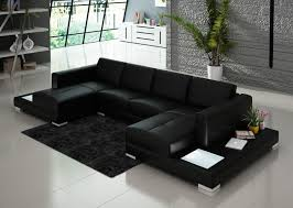 Sectional Table Black Double Chaise Sectional Sofa With Two End Tables Built In